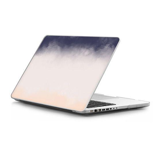 MacBook Pro 13 Sleeves - Modern Navy Blue Peach Watercolor Block Stripes by Girly Trend
