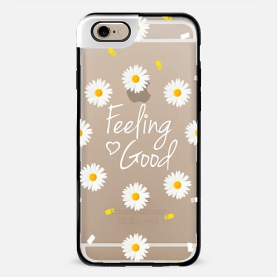 Girly daisy flowers feeling good typography brushstrokes  by Girly Trend -