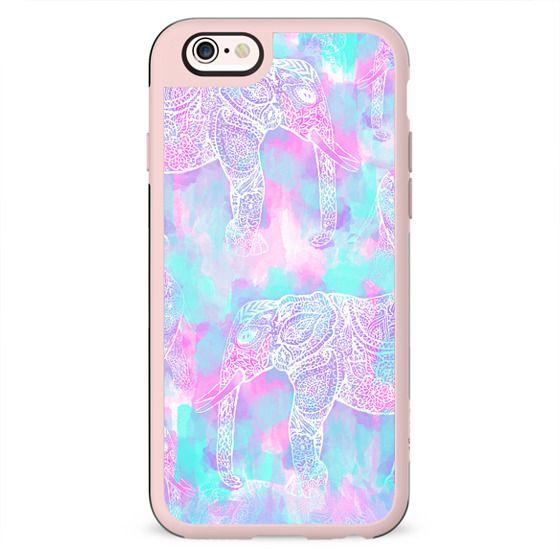 Pink aqua paisley elephant bright Henna pattern by Girly Trend