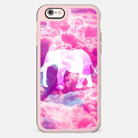 Girly Whimsical Elephant Bright Pink Clouds Space -