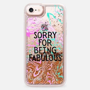 iPhone 7 Case Modern girly fabulous quote typography  pink teal watercolor marble by Girly Trend