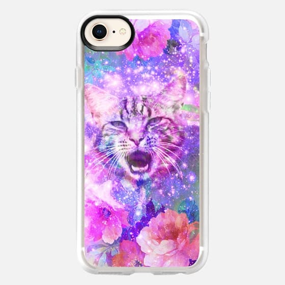 Girly Kitten Cat Romantic Floral Pink Nebula Space - Snap Case