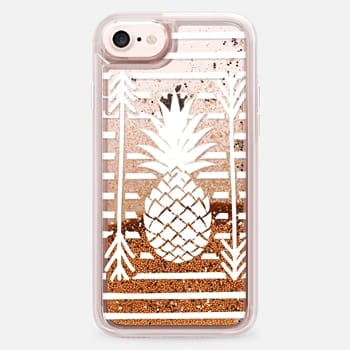iPhone 7 ケース Modern white arrows atripes pineapple illustration by Girly Trend