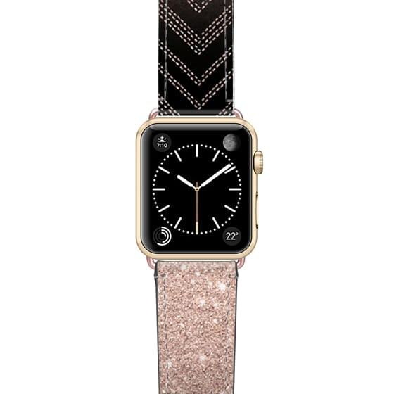 Apple Watch 38mm Bands - Chic elegant faux rose gold glitter ombre modern geometric chevron pattern fashion stitch on black by Girly Trend