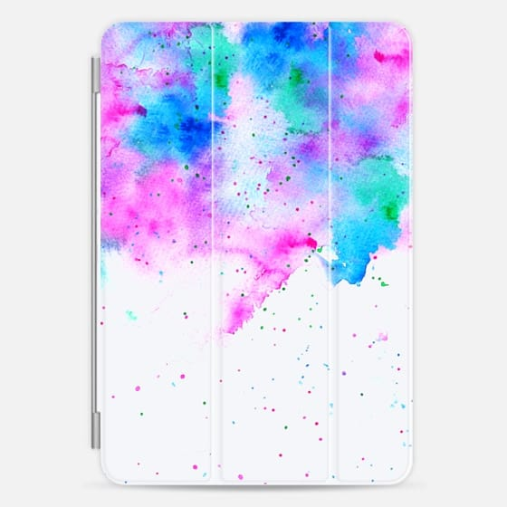 Watercolor  pink blue splatters bright colorful paint by Girly Trend -