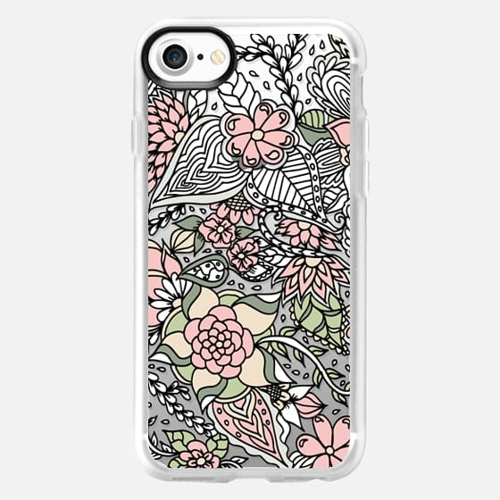 Modern green pink floral pastel handdrawn pattern transparent by Girly Trend -