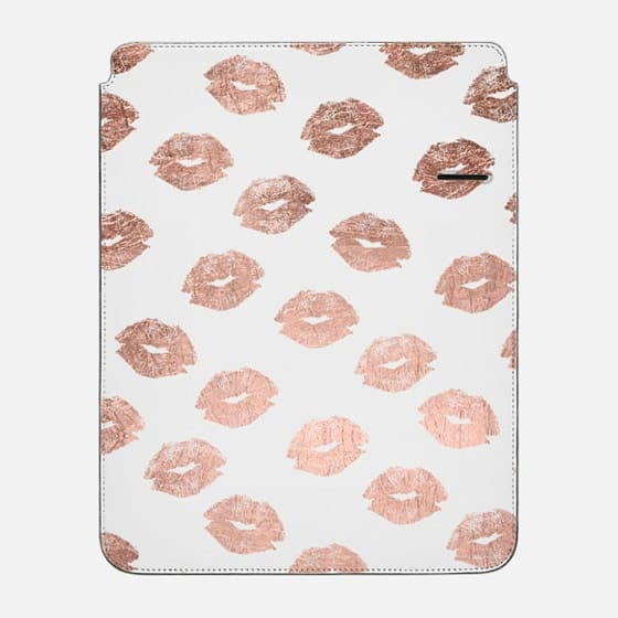 Modern love rose gold lips pattern by Girly Trend - iPad Pro Sleeve