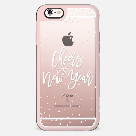 Modern white cheers the new year typography holiday confetti by Girly Trend - New Standard Case
