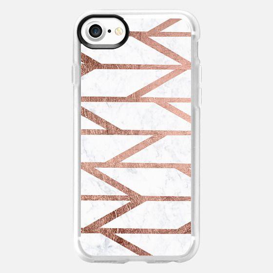 Modern faux rose gold herringbone chevron stripes pattern white marble by Girly Trend -