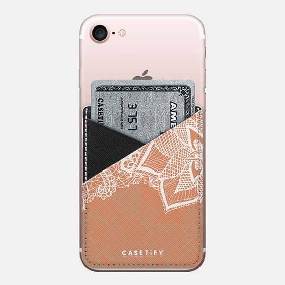 Modern hand drawn floral lace color copper tan roast illustration pattern by Girly Trend - Saffiano Leather Phone Wallet