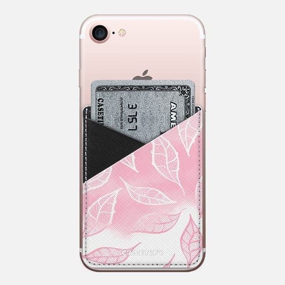 Modern pink white watercolor ombre lace leaf pattern illustration by Girly Trend - Saffiano Leather Phone Wallet
