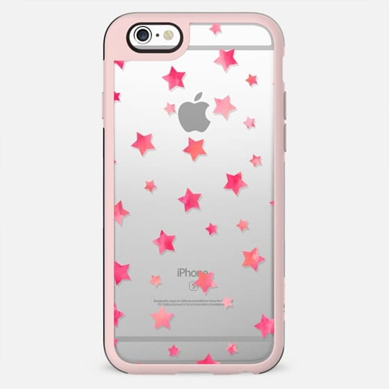 Modern neon pink watercolor geometric stars pattern transparent by Girly Trend