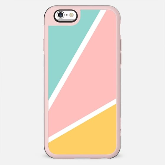 Tropical summer pastel pink turquoise yellow color block geometric pattern by Girly Trend - New Standard Case