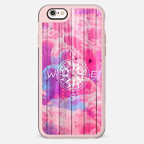 Girly Compass Bright Pink Clouds Sky Stripe Wood - New Standard Case