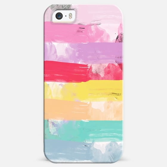 Bright Candy Pastel Watercolor Abstract Stripes - Classic Snap Case