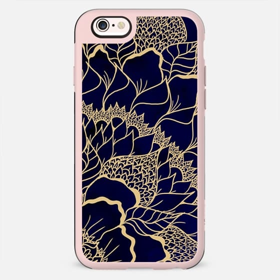 Modern flat gold mandala floral illustration navy blue watercolor by Girly Trend - New Standard Case