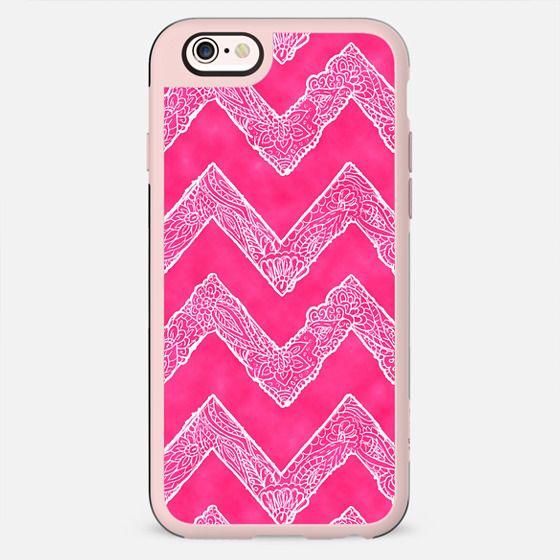 Trendy White Tribal Floral Paisley Chevron on Pink