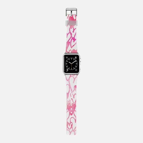 Cute pink love hearts watercolor pattern Apple watch -