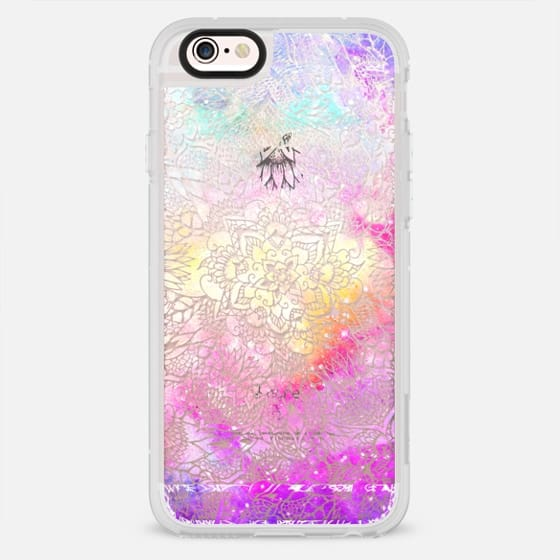 Transparent floral mandala hand painted nebula space watercolor by Girly Trend - New Standard Case