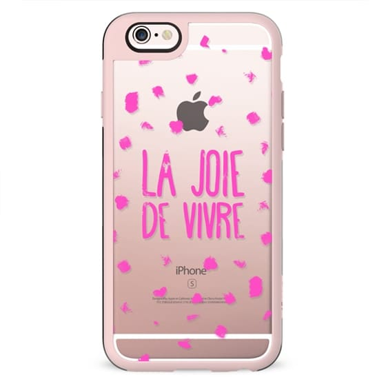Girly neon pink French typography La joie de vivre painted polka dots
