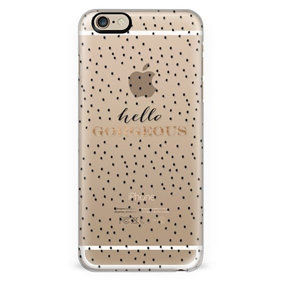 Modern trendy Hello Gorgeous quote typography gold and black handdrawn polka dots pattern by Girly Trend