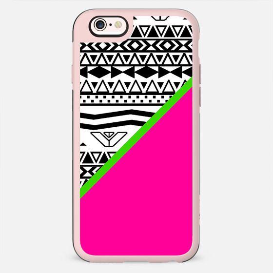 Neon Pink Color Block Black White Aztec Pattern -