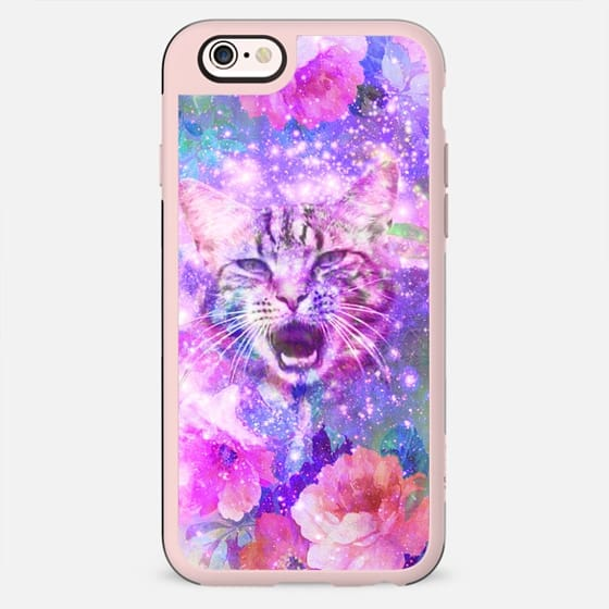 Girly Kitten Cat Romantic Floral Pink Nebula Space -