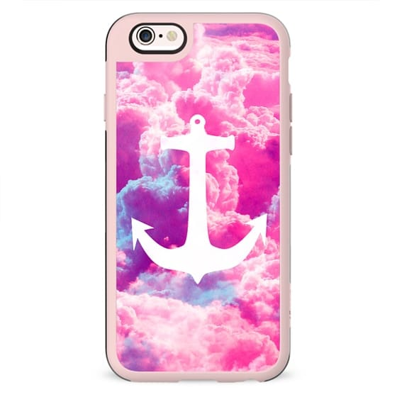 Girly Nautical Anchor Bright Pink Clouds Sky