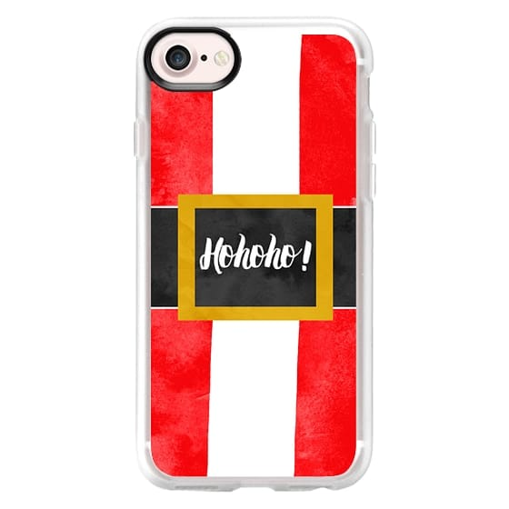 iPhone 7 Cases - Funny Santa Claus suit belt watercolor Christmas Holiday typography by Girly Trend