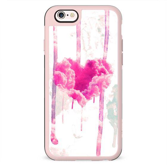 Modern Pink Cloud Love Heart Pink Watercolor Drips