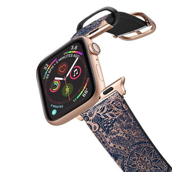 Apple Watch 38mm Bands - Modern rose gold dreamcatcher floral doodles navy blue illustration by Girly Trend