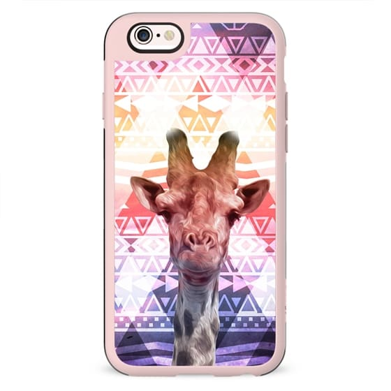 Whimsical Giraffe Tribal Aztec Pink Purple Clouds
