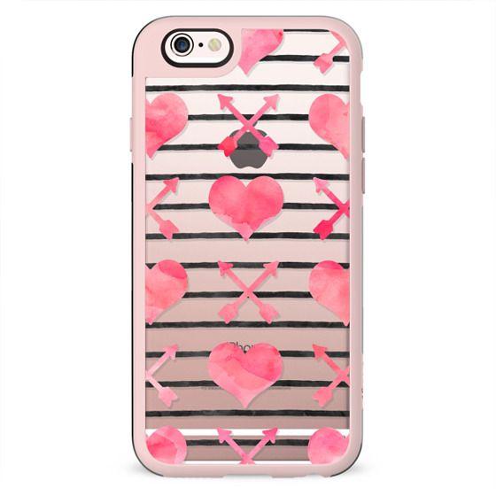 Pink Watercolor Hearts Arrows Black Stripes Pattern