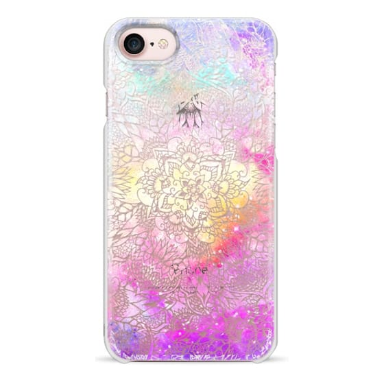 iPhone 7 Cases - Transparent floral mandala hand painted nebula space watercolor by Girly Trend