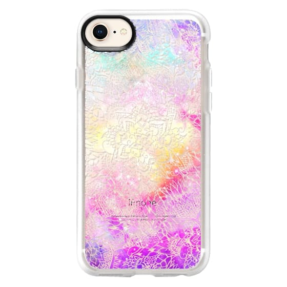 Transparent floral mandala hand painted nebula space watercolor by Girly Trend