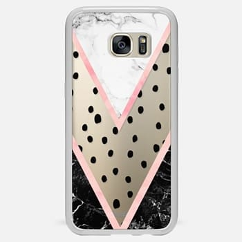 Samsung Galaxy S7 Edge ケース Modern pink pastel black white marble polka dots pink blush watercolor chevron color block by Girly Trend