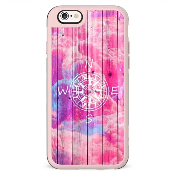 Girly Compass Bright Pink Clouds Sky Stripe Wood