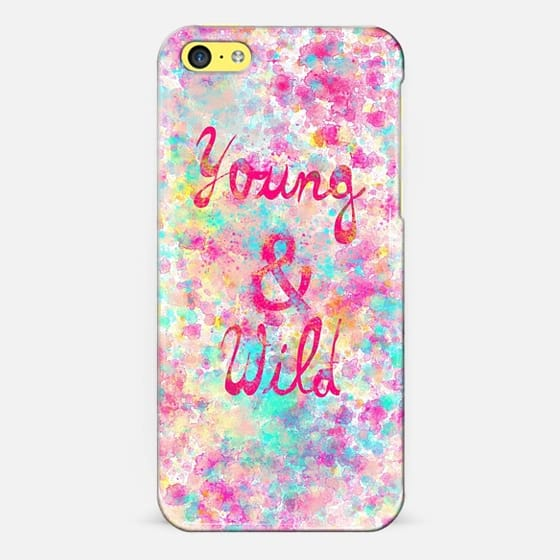 Young Wild Girly neon Pink Teal Abstract Splatter Typography - Classic Snap Case
