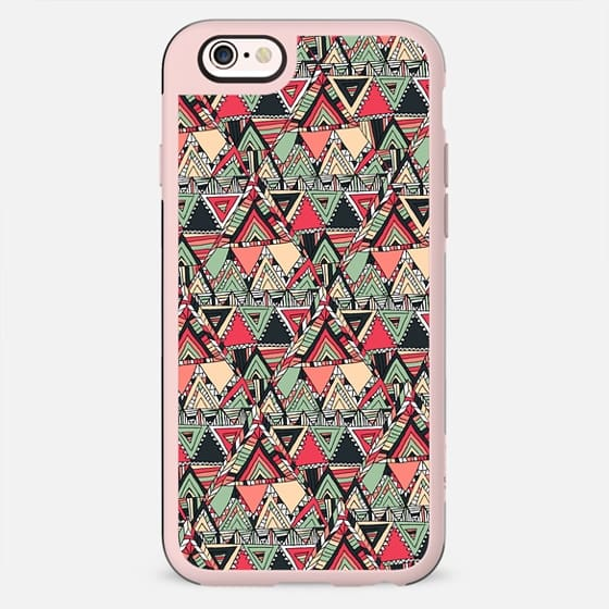 Boho Chic Orange Green Abstract Triangle Diamond Shape Sketch -