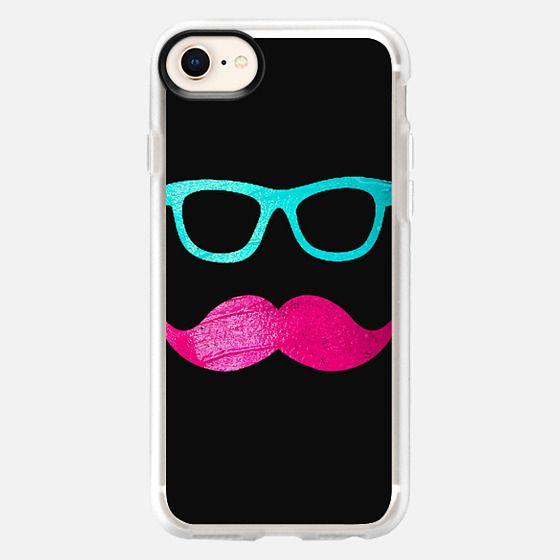 Funny Pink mustache teal hipster glasses Black - Snap Case