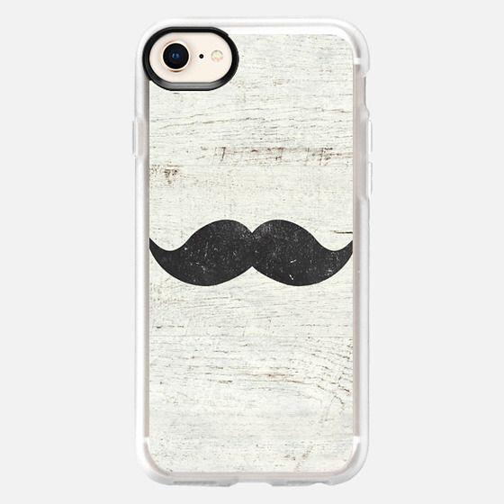 Vintage Funny Mustache White Retro Wood - Snap Case