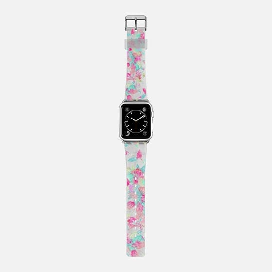 Pastel watercolor girly hand drawn floral pattern by Girly Trend - Saffiano Leather Watch Band