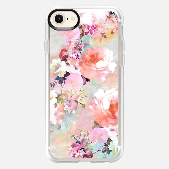 Stylish Romantic Pink Teal Pastel Chic Floral Pattern by Girly Trend - Snap Case