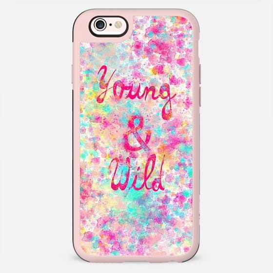 Young Wild Girly neon Pink Teal Abstract Splatter Typography