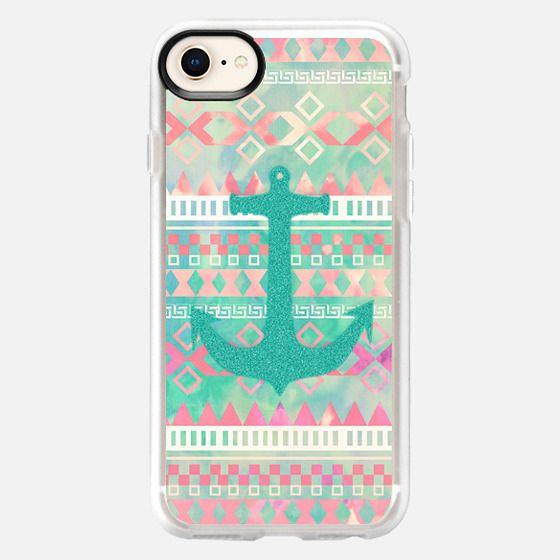 Emerald Nautical Anchor Pastel Watercolor Aztec - Classic Grip Case
