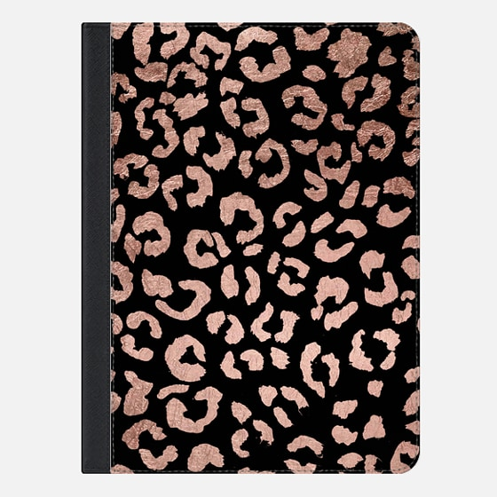 iPad Air 2 Case - Modern rose gold leopard hand drawn print pattern on black by Girly Trend