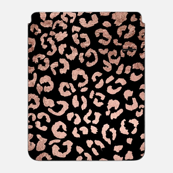 "iPad Pro 12.9"" Sleeve - Modern rose gold leopard hand drawn print pattern on black by Girly Trend"