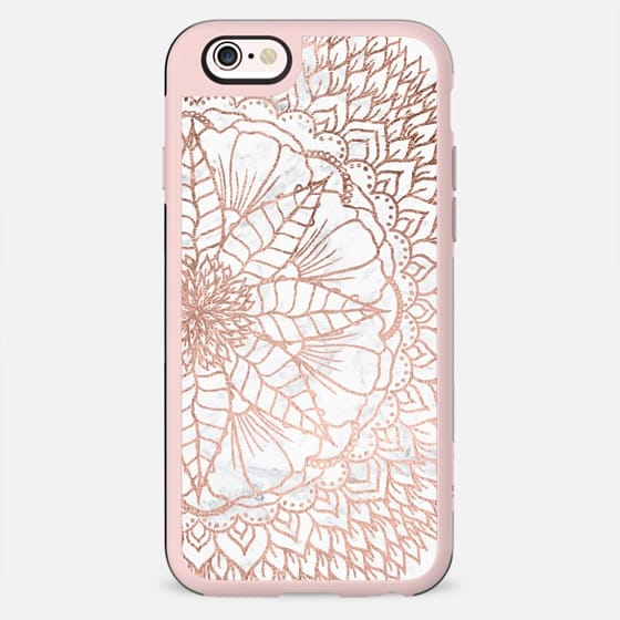 Modern faux rose gold foil handdrawn floral mandala boho hippie pattern on white marble by Girly trend - New Standard Case