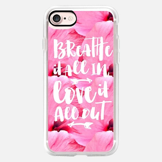 Modern breathe it all in love it all out typography quote pink bright flowers pattern by Girly Trend -