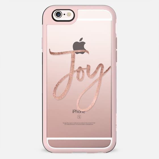 Modern faux rose gold Joy Christmas typography by Girly Trend - New Standard Case